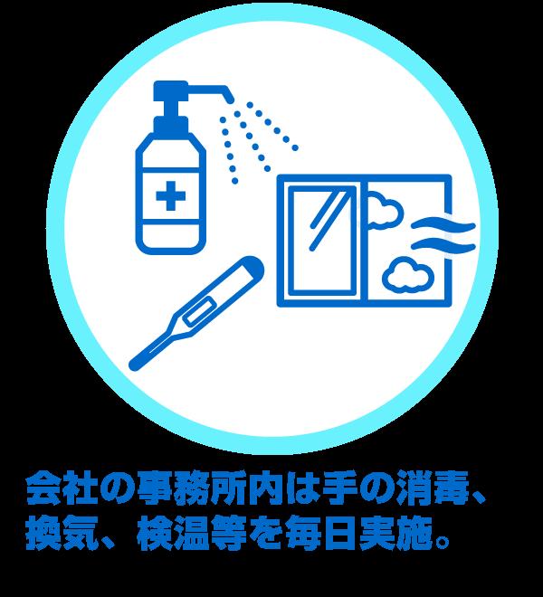会社の事務所内は手の消毒、換気、検温等を毎日実施。